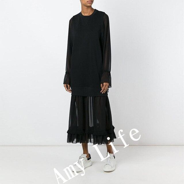 PADEGAO 2017 Retro Black Jacobs ladies dress party summer clothing Fashion Casual Half perspective Sexy gauze women long dresses
