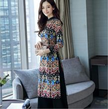 Vietnam Ao dai Summer Half sleeve Dress Women Cheongsam with pants Printing black