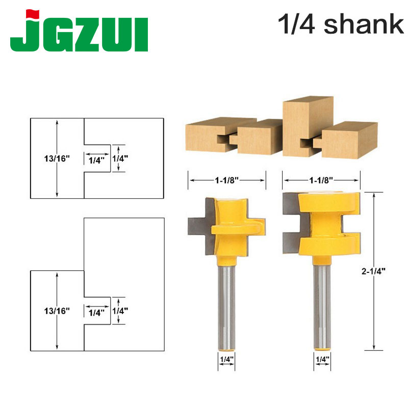 2pc Mini Tongue & Groove Router Bit Set - 1/4 Shank Line knife Woodworking cutter Tenon Cutter for Woodworking Tools RCT 15382