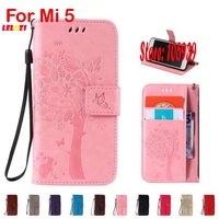 Vintage Deluxe Fashion Cute Tree Cat Butterfly PU Leather Lather Flip Wallet Case Etui For Xiaomi