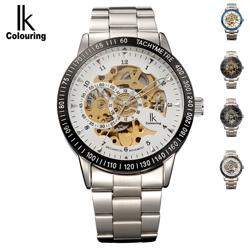 IK colouring Stainless Steel Luminous Automatic Mechanical font b Watches b font Men Brand Luxury Transparent