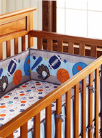 5pcs Cute Sport Baby Boy Nursery Crib Bedding Set With Bumper Sheet kit berco (4bumper+bed cover)