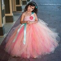 Elfenbein Peach Coral Hochzeit Tutu Kleid Vintage Erröten Mädchen Kinder Flauschigen Tutu Kleid für Geburtstagsfeier Wettbewerbe Foto TS080