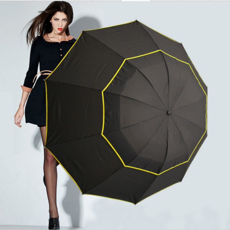 Image 5 - 130cm Big Top Quality Umbrella Men Rain Woman Windproof Large Paraguas Male Women Sun 3 Floding Big Umbrella Outdoor Parapluie-in Umbrellas from Home & Garden