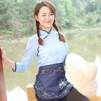 Limpeza doméstica o corpo feminino de algodão avental da cozinha avental de impressão corpo curto metade do trabalho corporal