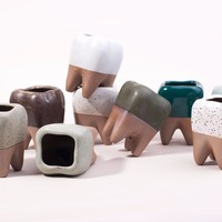 AIBEI Pastoral Style White Ceramic Plant Pots 1PC Large Creative Teeth Model Flowerpot Flower Garden Pots
