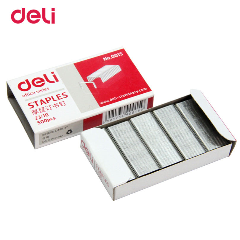 12mm Hight Staples Crwon Nails For Deli Officel Metal Standards Hot Sale Staples 23/10 Size Silver 500pcs A Box Normal Staple