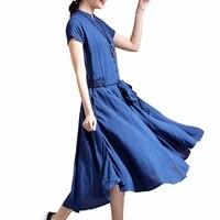 Mori Fille Tunique Femme Coton Linge Cordon Col Mandarin Bouton chemise Robe Fit Et Flare Big Hem Marine Blanc Midi robe