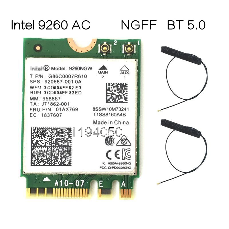 1730 Mbps Wireless 9260ngw Wi-Fi Network Card for Intel 9260 Dual Band NGFF/M.2 2x2 802.11ac Wi-Fi Bluetooth 5.0