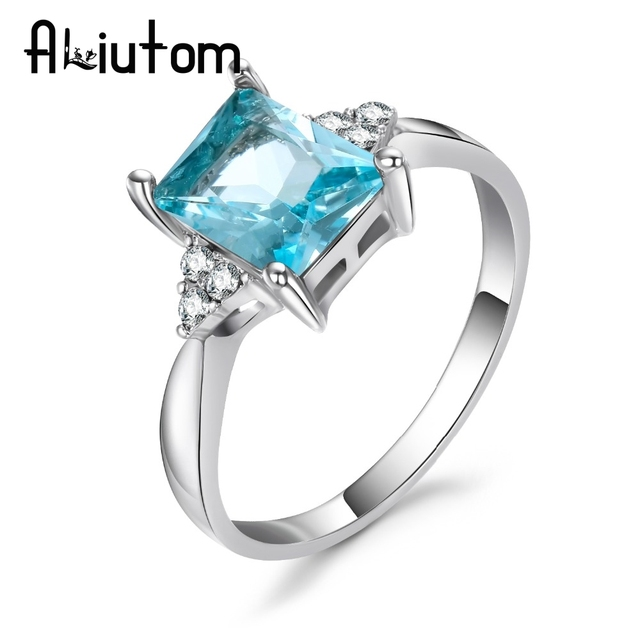 ALIUTOM Big Blue CZ Cubic Zircon Stone Silver Rings for Women Fashion Jewelry Valentines Day Gift