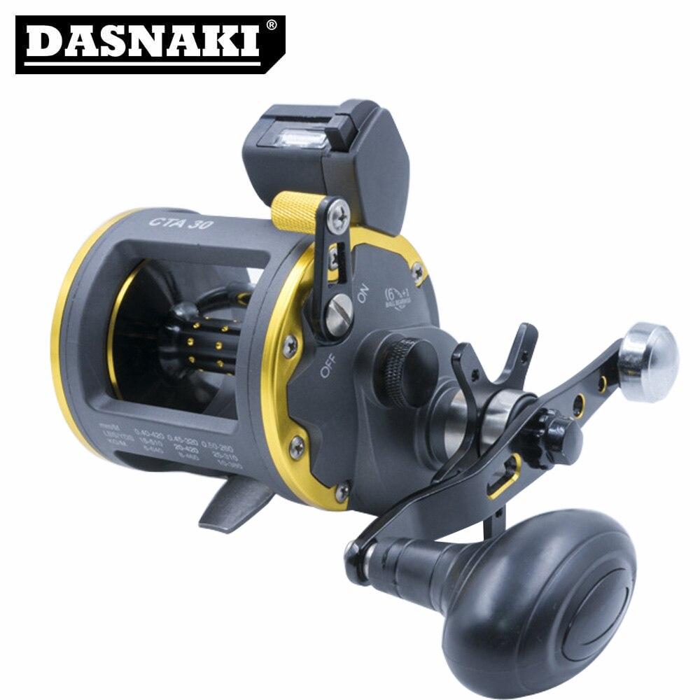 DASNAKI moulinet de pêche en mer ligne de pêche compteur puissance de démarrage Max 15KG puissance de démarrage moulinet rond offre un fonctionnement en douceur 6 + 1BB