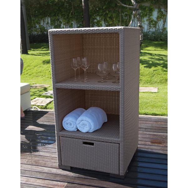 newest design outdoor plastic rattan warehouse towel storage rack