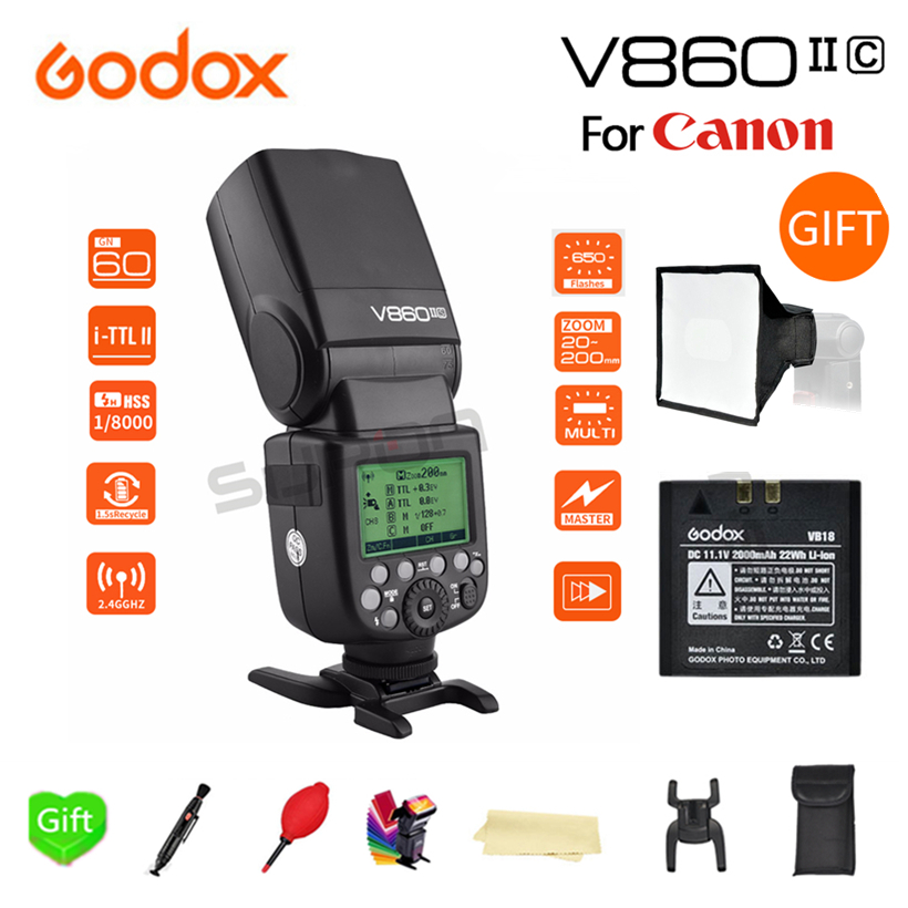 Godox V860II-C GN60 E-TTL 1/8000s HSS 2.4G Wireless X-System Li-ion Battery Flash Speedlite for Canon D3200 D3300 D5300 D7200Godox V860II-C GN60 E-TTL 1/8000s HSS 2.4G Wireless X-System Li-ion Battery Flash Speedlite for Canon D3200 D3300 D5300 D7200