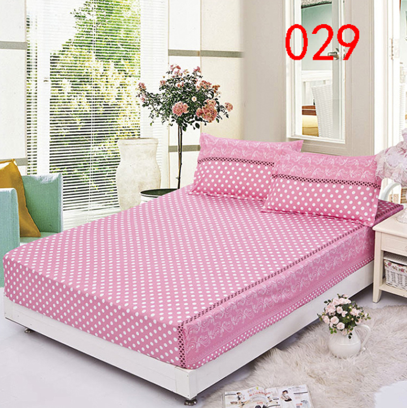 Pink Dots Polyester Fitted Sheet Single Double Bed Sheets Fitted Cover Twin  Queen Mattress Cover Bedspread
