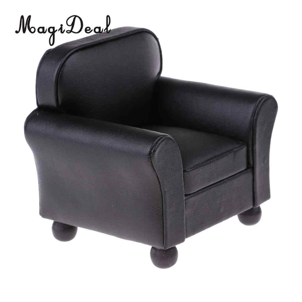1/12 규모 유럽 스타일 가죽 단일 소파 소파 안락 의자 미니어처 모델 인형 집 모든 객실 가구 장식 액세서리