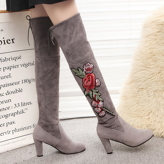 ea893967ab6 Embroider Over the knee boots large size 4-10.5 short plush lace-up female  boot flock square heel fashion botas mujer
