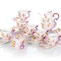 Керамическая эмаль посуда для напитков [21 шт набор; 6 чашек + 6 тарелок + 6 ложек + 1 сахарница + 1 емкость для молока + 1 кофейник] Павлин Керамичес