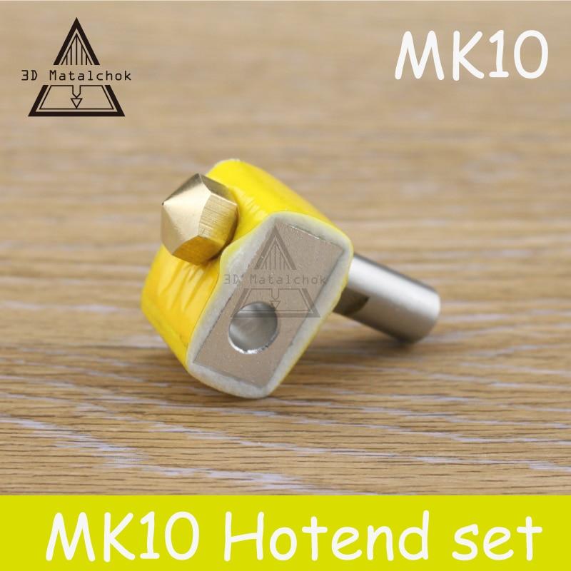 HOT SALE!1SET MK10 Extruder brass M7 Nozzle kit Aluminum Heating Block+MK10 Brass Nozzle+PTFE throat For MAKERBOT 2 3D Printer