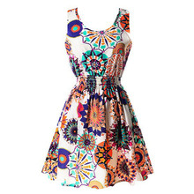 2017 Hot 20 color Women Dresses 2017 Summer Vintage Floral Print Dress Women O neck Sleeveless