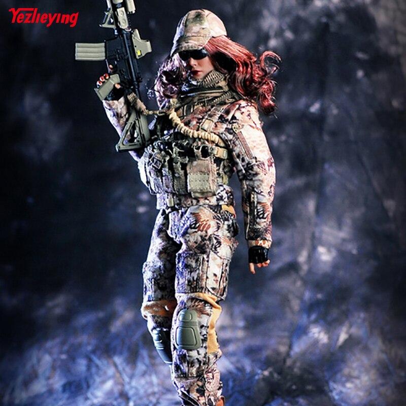 لعب 1/6 مقياس الإناث الملابس المغوار الافعى كامو مجموعة أو بندقية نموذج القتالية الملابس 12 بوصة HT PH الجسم أرقام-في شخصيات دمى وحركة من الألعاب والهوايات على  مجموعة 1