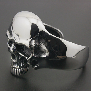 Image 5 - 316L acier inoxydable énorme crâne lourd hommes Biker Rocker Punk Bracelet Bracelet manchette 5J022