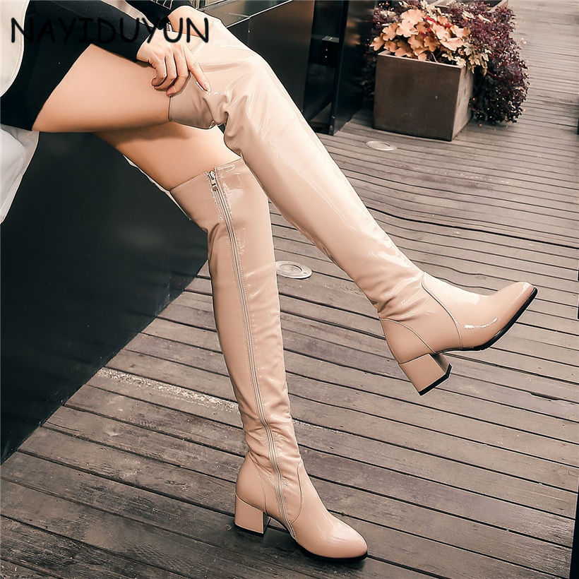 NAYIDUYUN 2017 Fashion Women Bright Cow Leather Round Toe Thigh High Boots Stretchy Winter Over Knee Long Boots Oxfords Slim nayiduyun new fashion thigh high boots women genuine leather round toe knee high boots high heel party pumps casual shoes