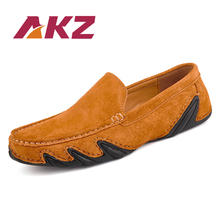 AKZ Man Loafers New Fashion Spring Summer Mens Casual shoes Pig suede Breathable Comfortable Light Male Flat shoes big size цены
