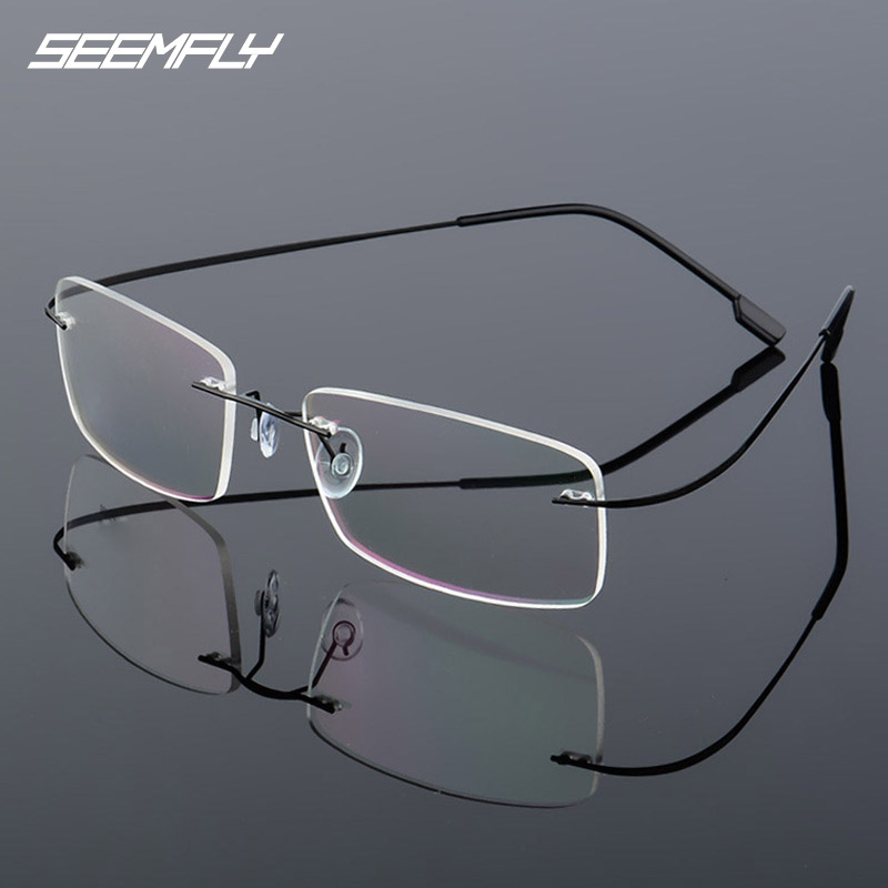 Seemfly Rimless Fashion Glasses Frame Men Women Titanium Metal Frame Flexible Eyeglasses Spectacle Female Male Frameless Eyewear