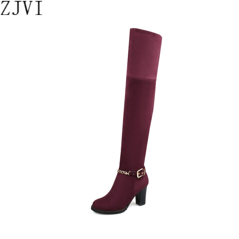 ФОТО ZJVI Nubuck Stretch over the knee boots Ladies autumn winter women womens female fashion shoes woman thigh high riding boots