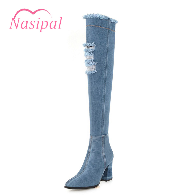 Nasipal Fashion Women Pointed Toe Denim Chunky High Heels Over The Knee Boots Autumn Winter Sexy Tassel Thigh High Jean Boots women fashion pu leather pointed toe over the knee boots ladies autumn winter high heels boots sexy thigh high boots botas mujer