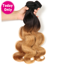 TODAY ONLY Ombre Human Hair Brazilian Body Wave Bundles Blonde Hair Two Tone 1b 27