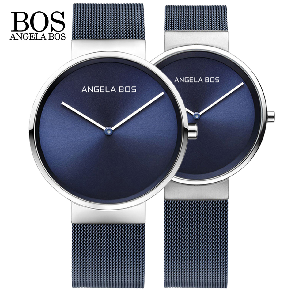 2018 New ANGELA BOS Watches Men Quartz Watch Ultra Thin Simple Couple Watch Stainless Steel Mesh Strap UltraThin Clock Hot