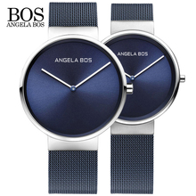 2018 New ANGELA BOS Watches Men Quartz Watch Ultra Thin Simple Couple  Stainless Steel Mesh Strap UltraThin Clock Hot