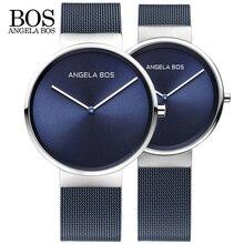 2018 Новый ангела BOS часы Для мужчин кварцевые часы ультра тонкий Простой пару часов Нержавеющаясталь сетка ремень ультратонкие часы Горячие