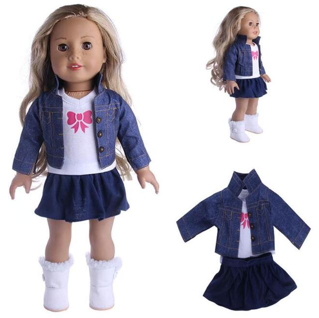 18 Inch American Girl Doll Lovely Fancy Jeans Shirt Pleated Skirt Dress 3Pcs Suit Fit 43cm Baby Born Doll For Children Best Gift