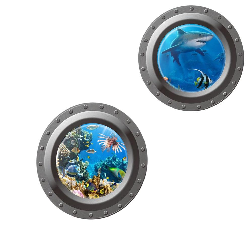 3D Ocean View Window Submarine Wall Sticker /Home Decals Porthole Graphics Sea Portal Pe ...