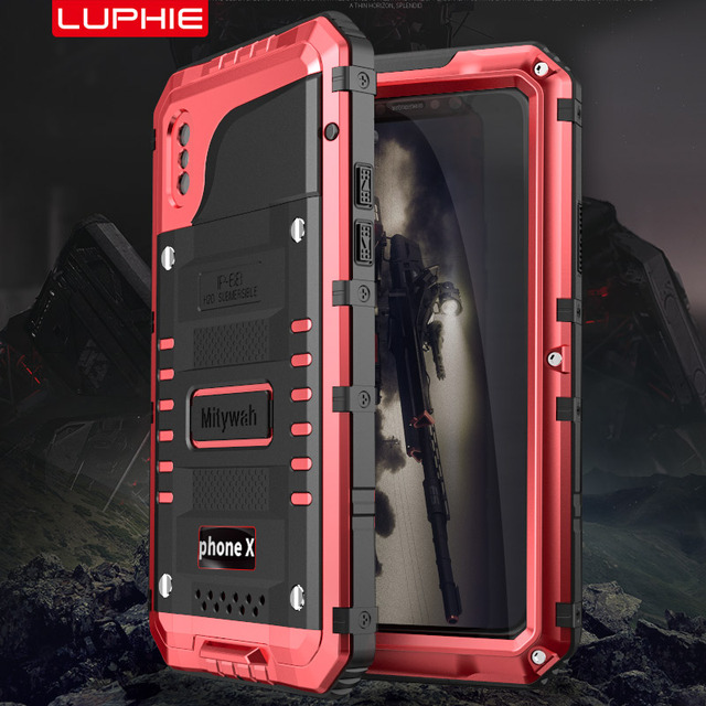 Waterproof Aluminum Case For iphone X XS MAX XR 6S 7 8 Plus Shockproof Dustproof Cover Metal Armor Shell With Tempered Glass