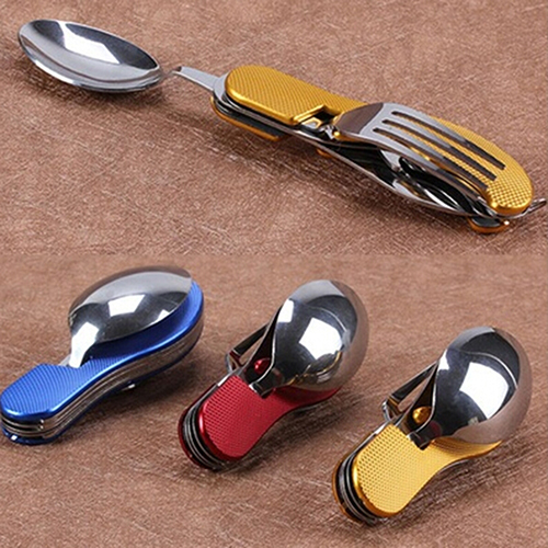 Durable 3 in 1 Outdoor Travel Camping Hiking Pocket Folding Spoon Fork Knife