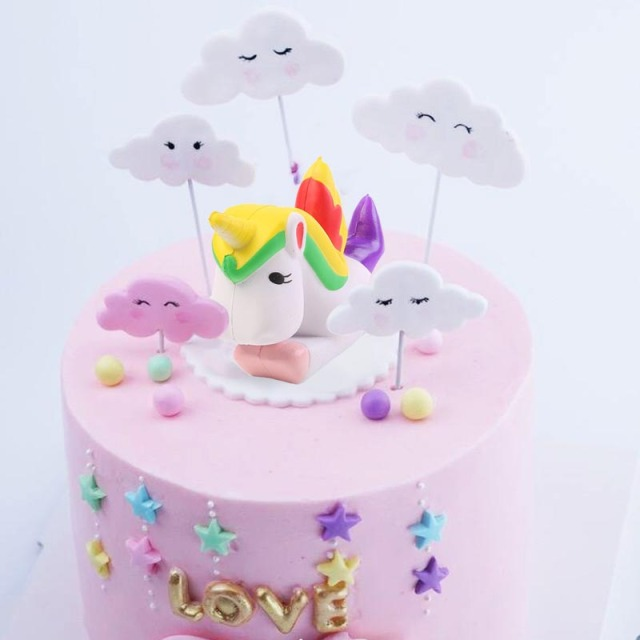 Unicorn Cake Toppers Kids Birthday Wedding Event Party Decoration Rainbow Cloud Glitter Heart Decorating Supplies