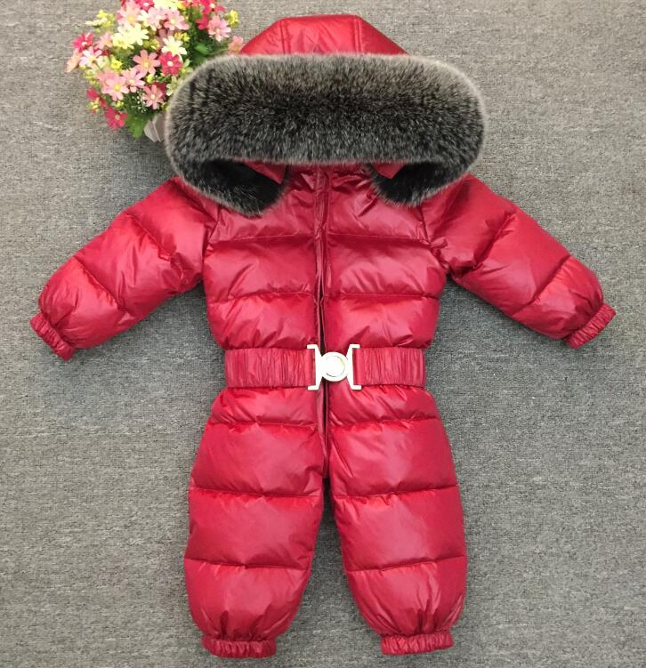 5d8e139813f2 -30 Winter Snowsuit Baby 90% duck Down Romper Outdoor Infant Overcoat  Clothes Girls Overall