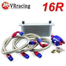 VR RACING UNIVERSAL 16 ROW AN10 ENGINE TRANSMISS OIL COOLER KIT FILTER RELOCATION BLUE VR7016S 6724BR