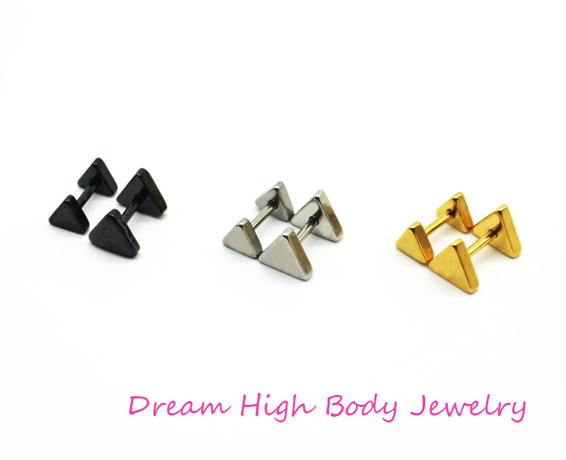 Personality simple cutting triangular men women stud earrings allergy free earrings titanium Steel Black Gold 5mm 7mm