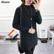 2018 Winter Womens Sweater Female Autumn Casual Fashion Pullover Ladies Long Sleeve O Neck Solid Xnxee