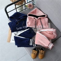 Kids winter clothing set boys girls embroidered letters hooded sweater + pants gold velvet casual suit children thick warm suits