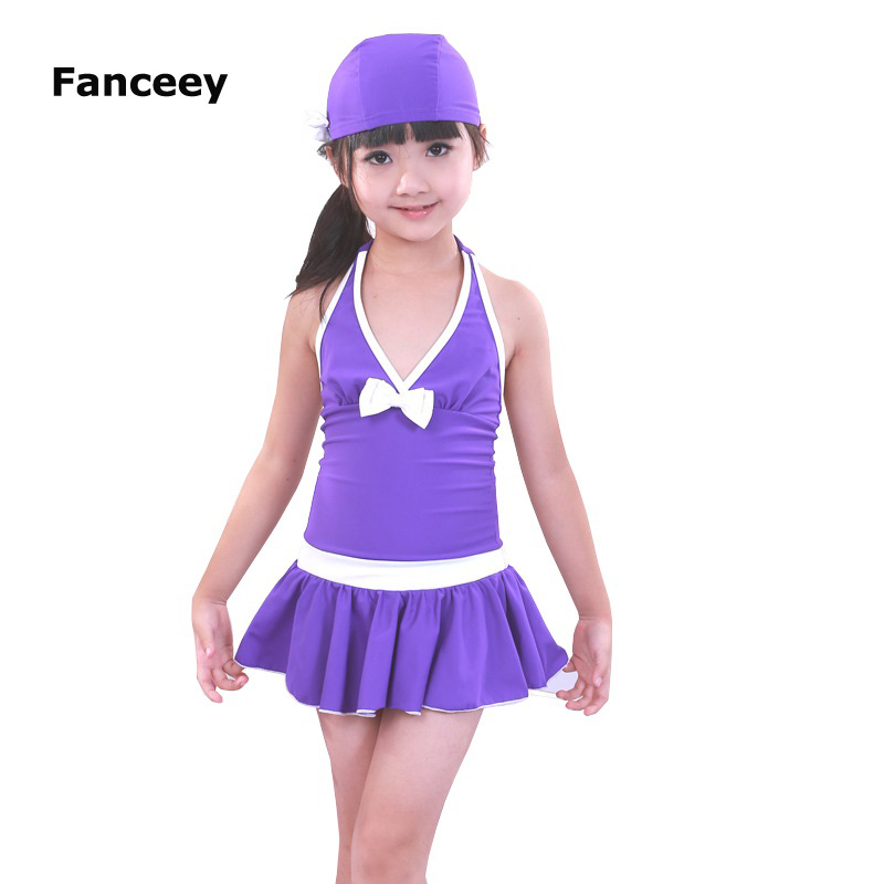 47e47d0495f0d Free Shipping 2019 Solid Polyester Kids Girls Swimwear Swimsuit Swimming  Girl Style Summer Children one piece bathing suit dress