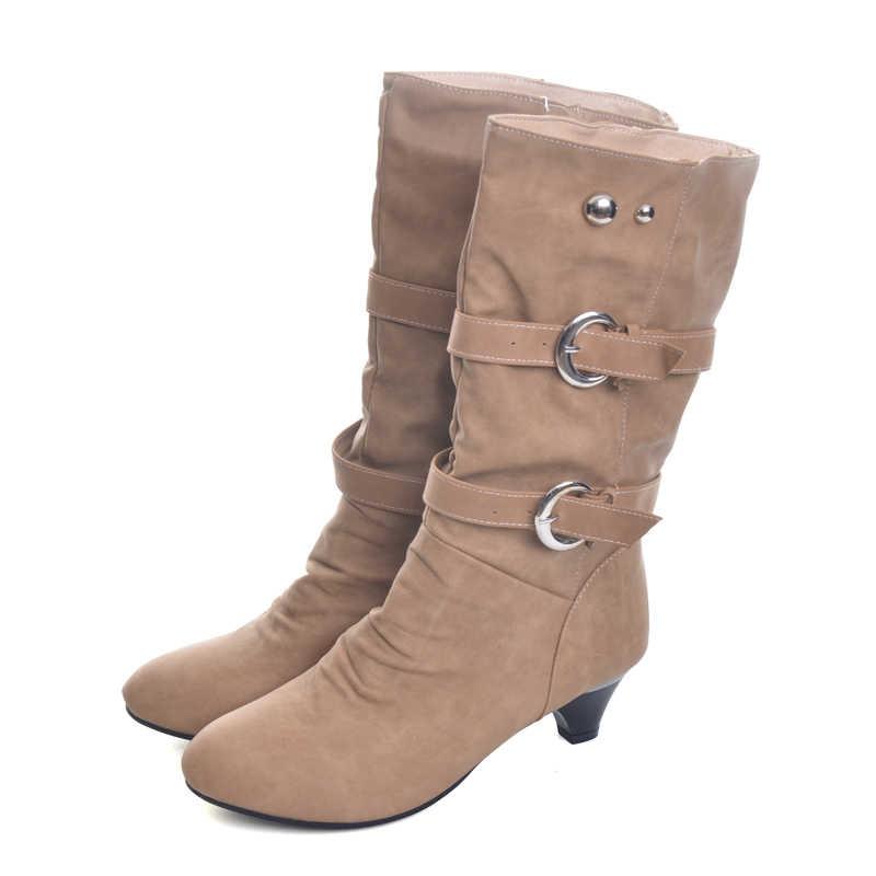 הי גרנד נמוך גבוהה עקבים נשים מגפי סתיו אבזם אמצע עגל מגפי אלגנטי להחליק על משאבות נעלי אישה עבור גבירותיי גודל 35-39 XWX931