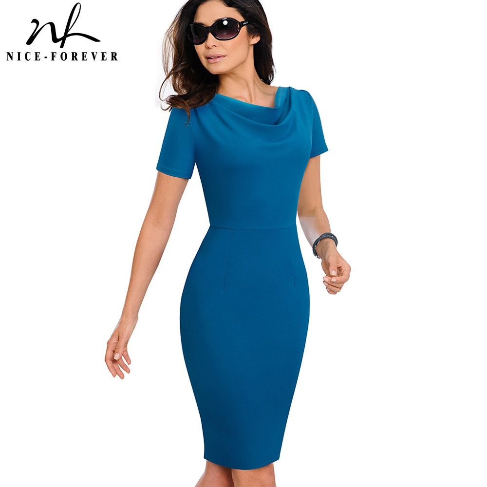 Nice-forever Women Vintage Elegant Pure Color Vestidos Business Bodycon Sheath Office Work Ruffle Female Dress B523