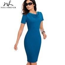 Nice forever femmes Vintage élégant couleur Pure robes affaires moulante gaine bureau travail à volants robe féminine B523