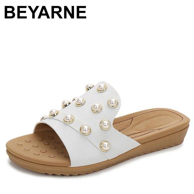 947ec4423b57ca BEYARNE Women Flip Flops Summer Beach Sandals Pearl Slippers Genuine Leather  Flat Slippers Ladies Comfortable Slipper Plus Size