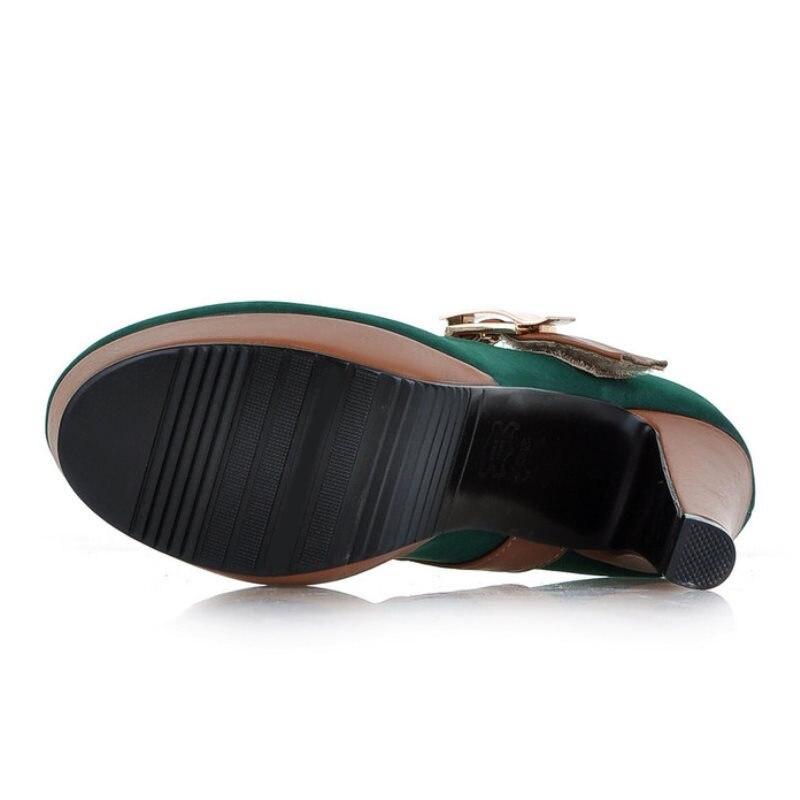 Femmes Hauts Talons Chaussures 43 Noir Plate Boucle Femme 34 Talon À Kemekiss forme Métallique Pompes De Spike Vintage Party Taille vert Club bleu 5EwqIHX